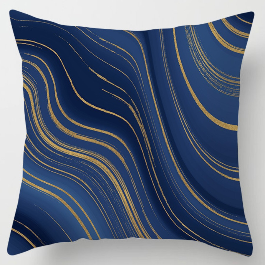 LW lovely Stylish Striped Print Navy Blue Decorative Pillow Case