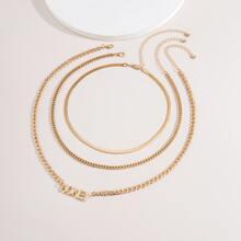 3pcs Letter Pendant Necklace