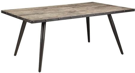 Levitt Collection 190441 72 Rectangular Dining Table with Planked Wood Top  Angled Tapered Metal Legs and Metal Edge Banding in Weathered