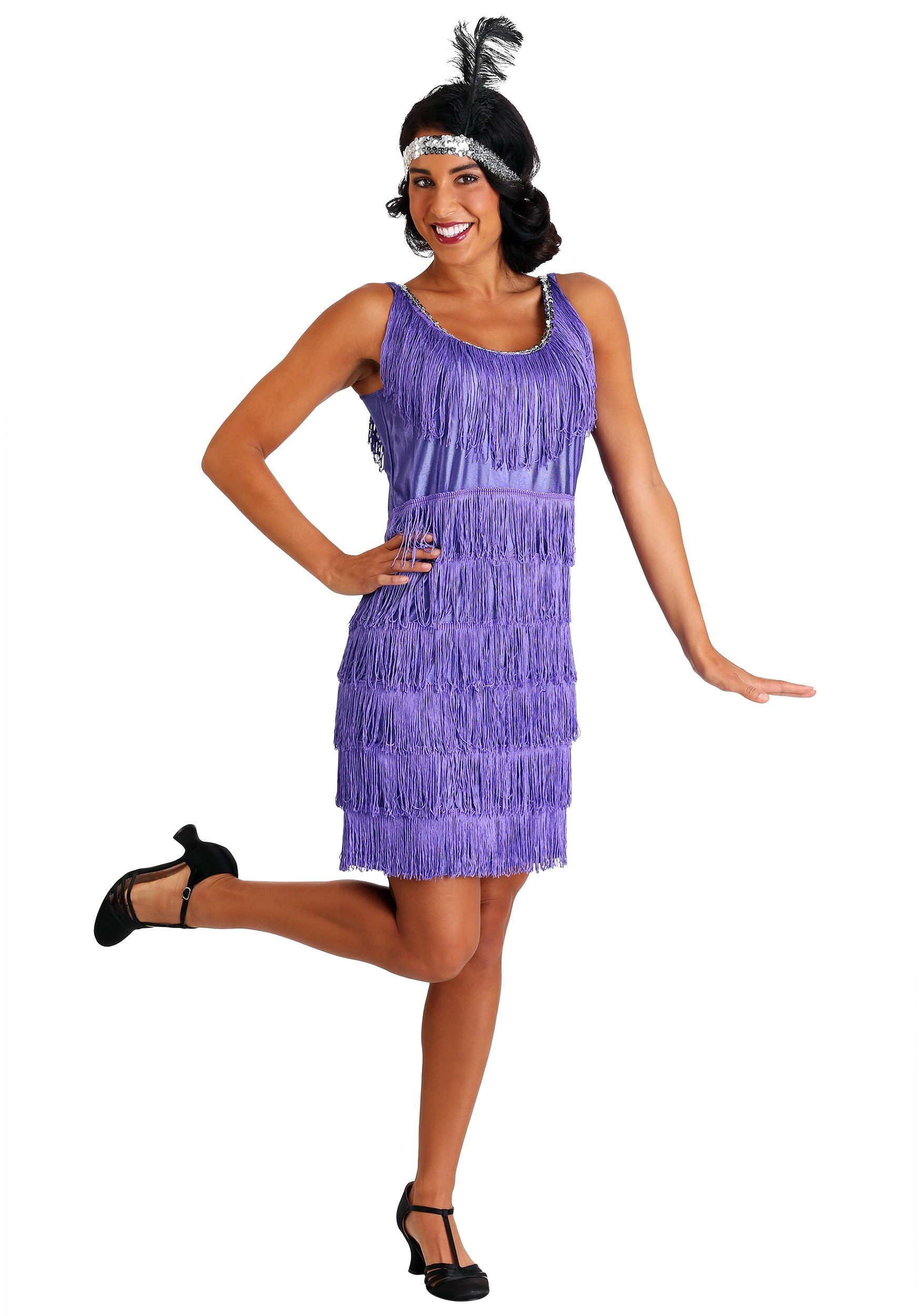 Plus Size Womens Purple Fringe Flapper Dress