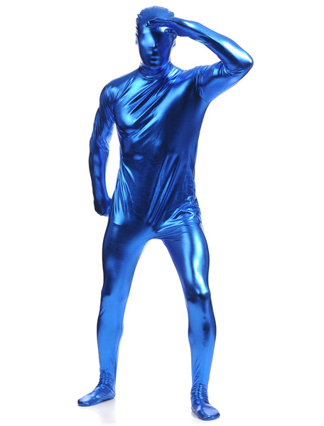 Milanoo Royal Blue Zentai Suit Adults Full Body Shiny Metallic Bodysuit for Men