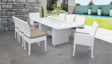 MONACO-DTREC-KIT-6ADC2DCC-WHEAT Monaco 9-Piece Outdoor Patio Dining Set with Rectangular Table + 6 Side Chairs + 2 Arm Chairs - Sail White and Wheat