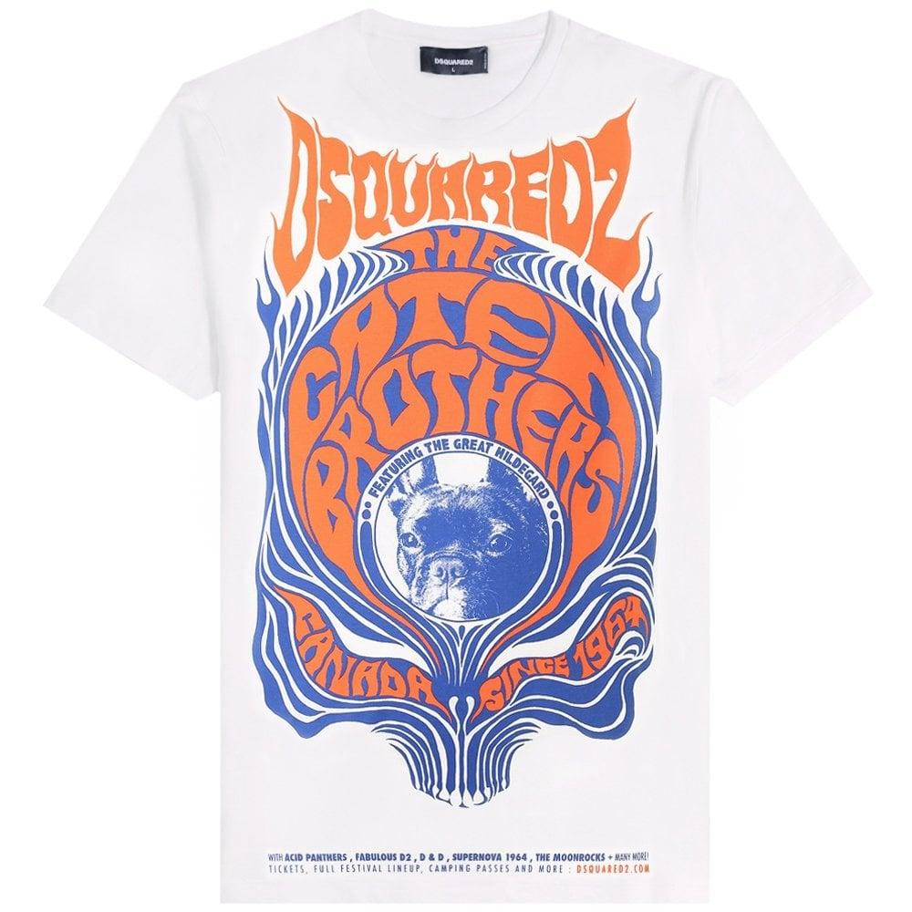 DSquared2 Large Graphic Logo Print T-Shirt Colour: WHITE, Size: LARGE
