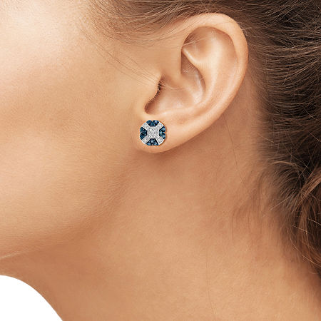 1/4 CT. T.W. White & Color-Enhanced Blue Diamond Sterling Silver Earrings, One Size , No Color Family