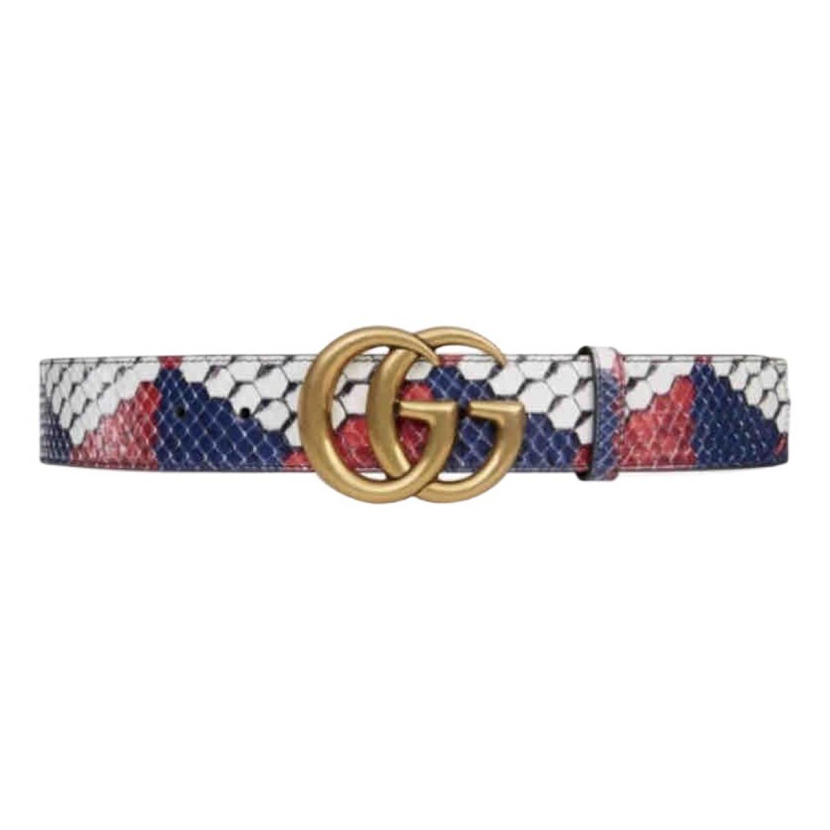 Gucci Feline Buckle Gold Python belt for Women 80 cm