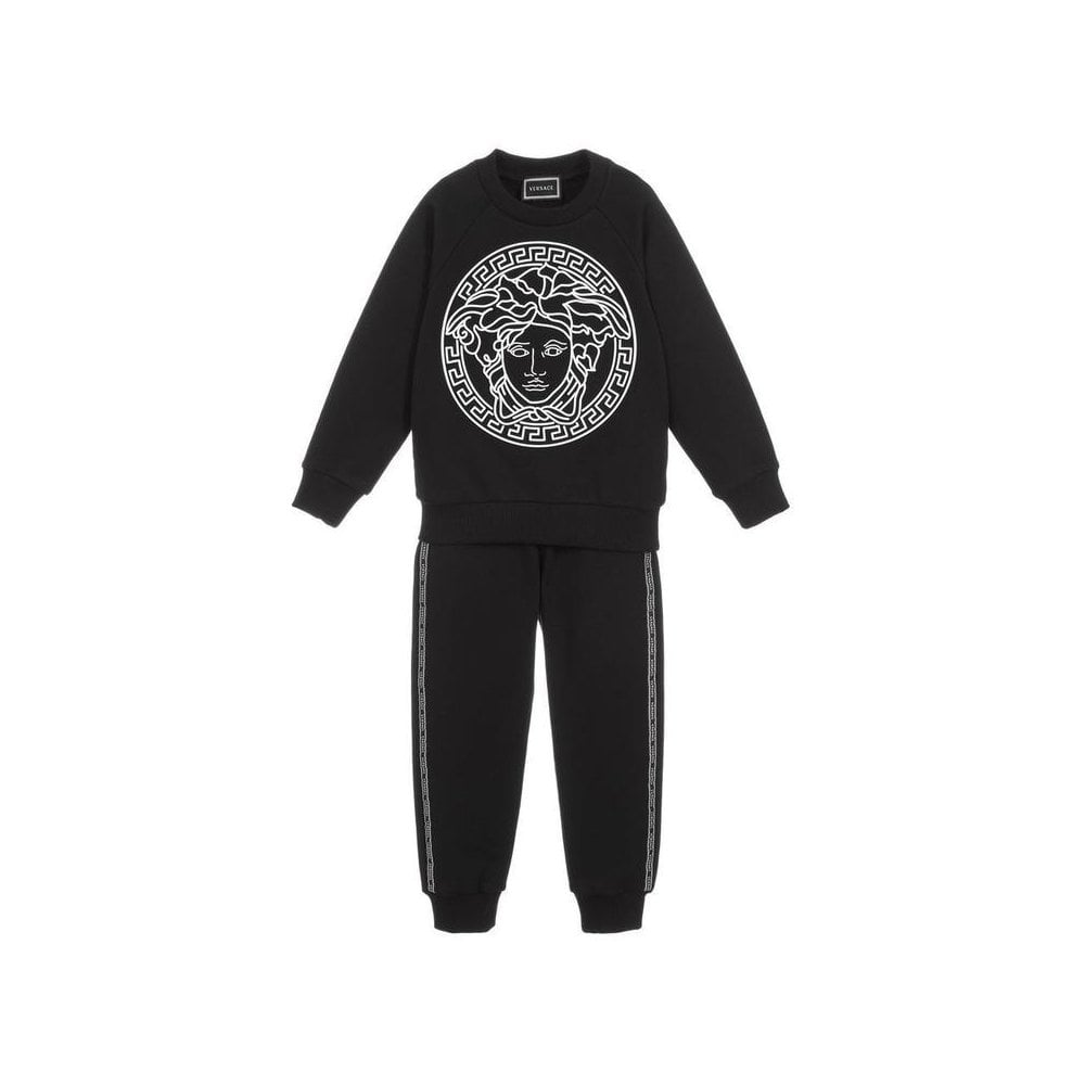 Versace Boys Cotton Tracksuit Colour: BLACK, Size: 8 YEARS