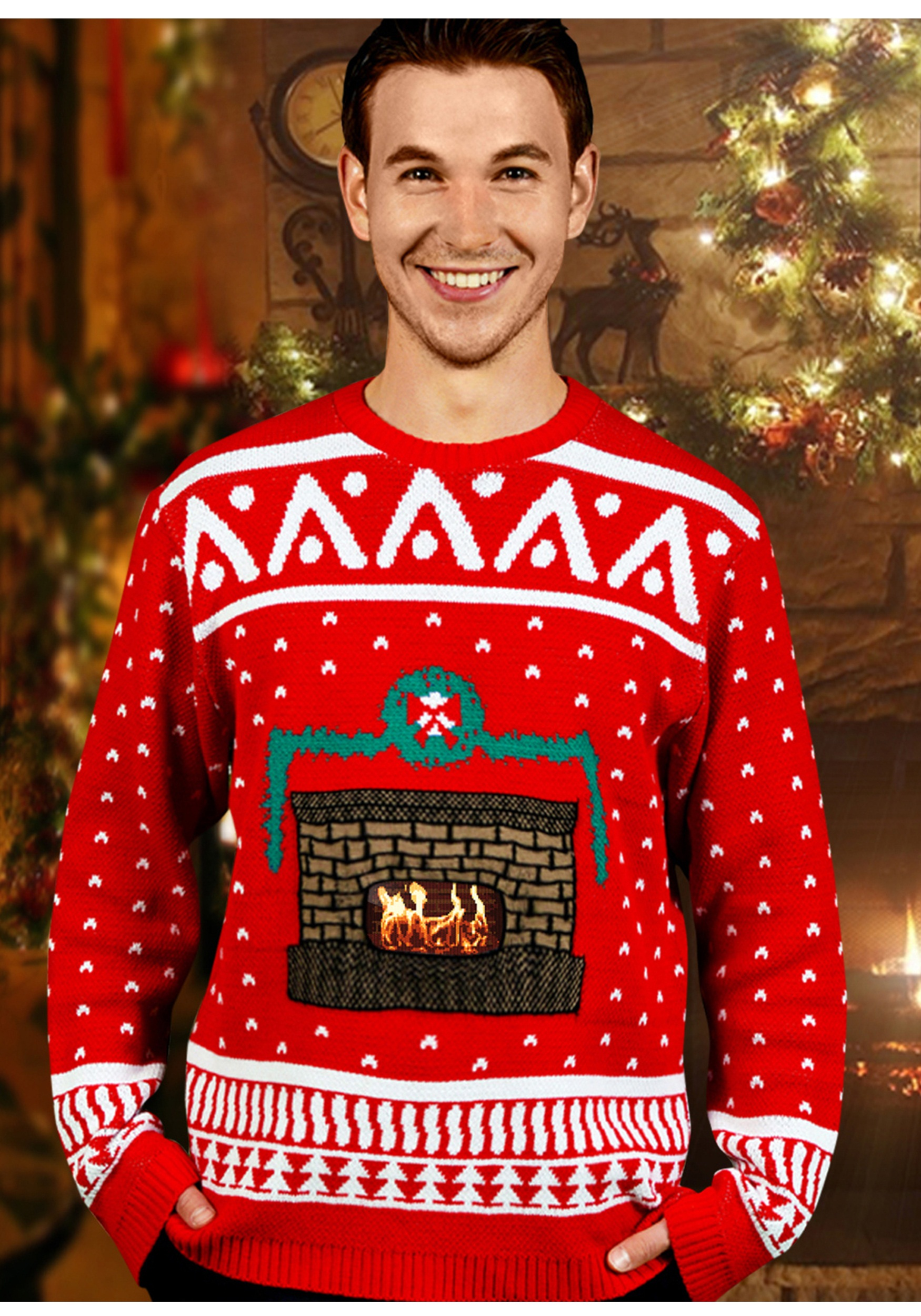 Crackling Fireplace Ugly Christmas Sweater for Adults