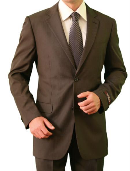 2 Button Brown Front Closure Notch Lapel  Slim Suit Mens Cheap