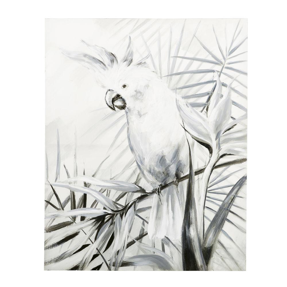 Leinwand schwarz und weiss mit Kakaduaufdruck 120x120