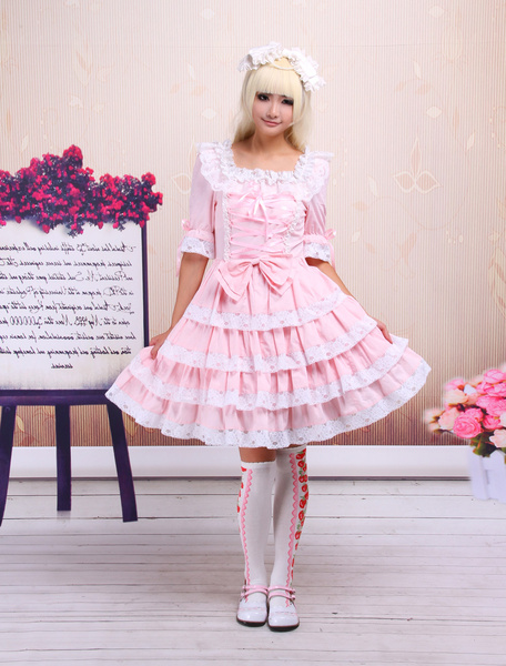 Milanoo Sweet Pink Lolita OP Dress Middle Sleeves with Lace Trim
