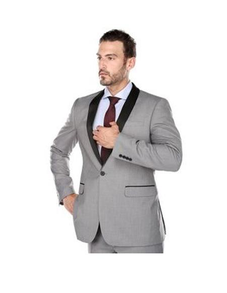 Mens Shawl Lapel Single Breasted Light Grey Slim Fit Two-piece Tuxedo