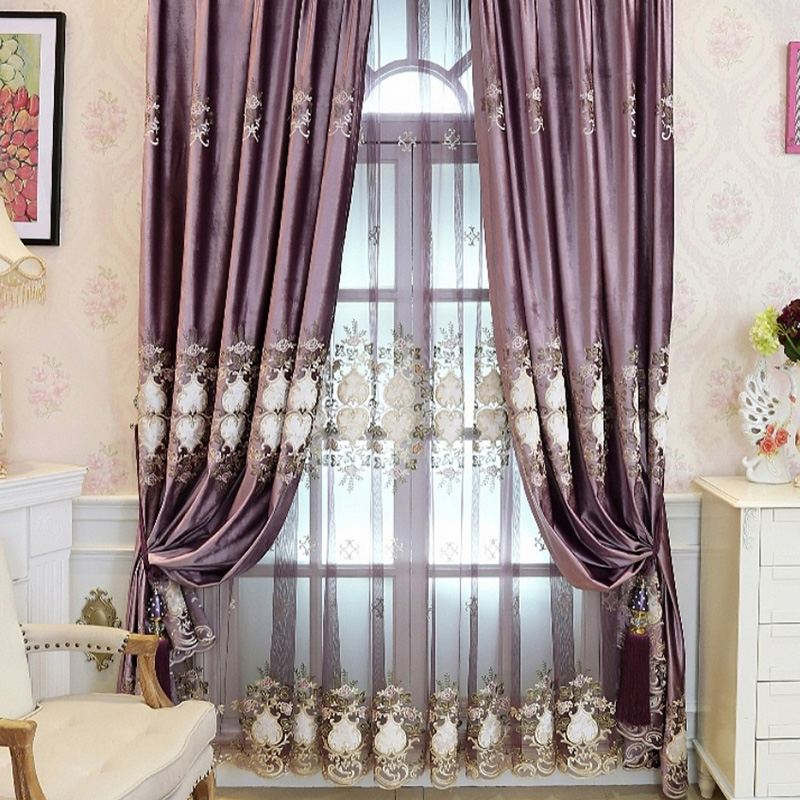 European Purple Polyester Cotton Custom Living Room Sheer Curtains Environment-friendly Material Exquisite Embroidery to Show Taste and Luxury No Pill