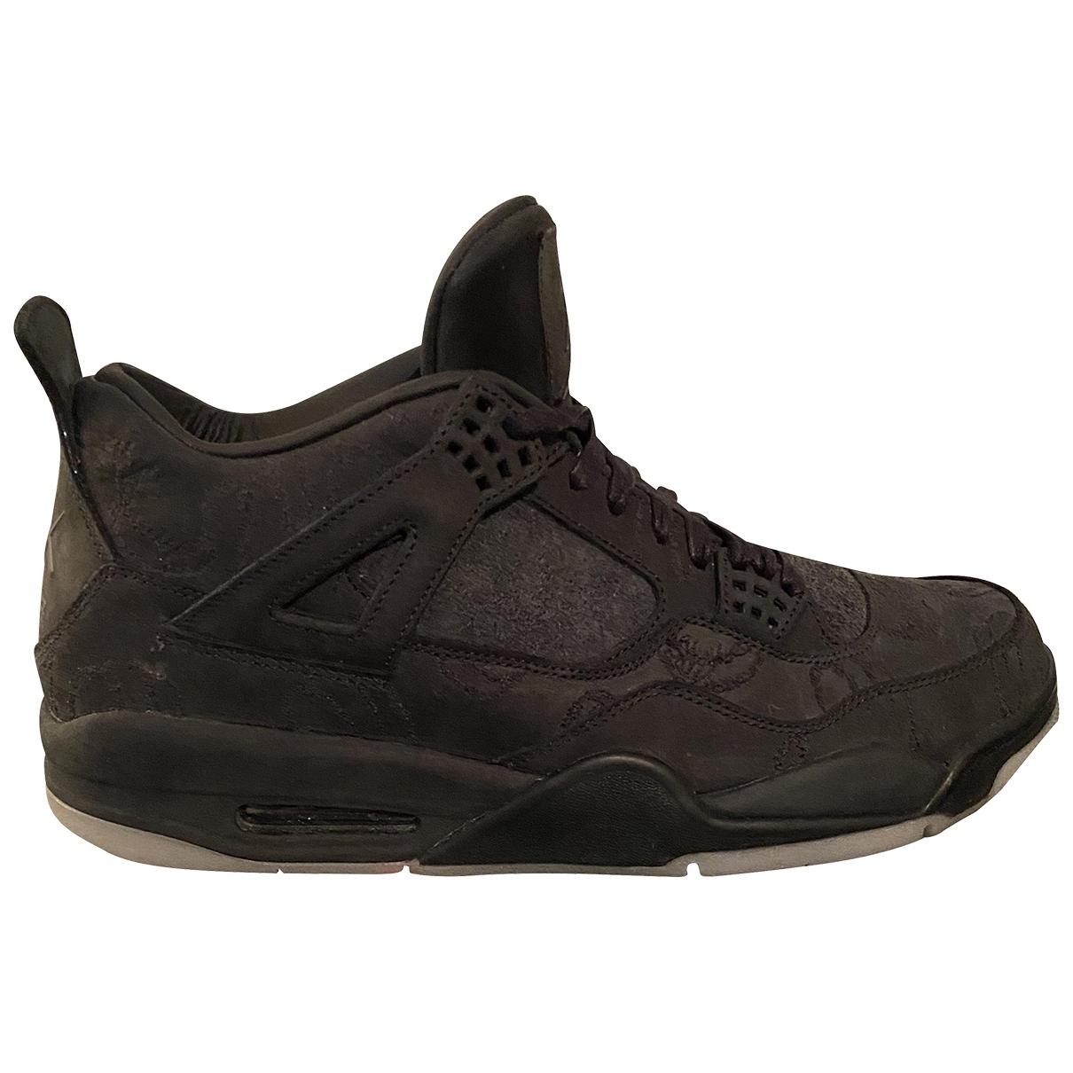Jordan - Baskets Air Jordan 4 pour homme en cuir - noir