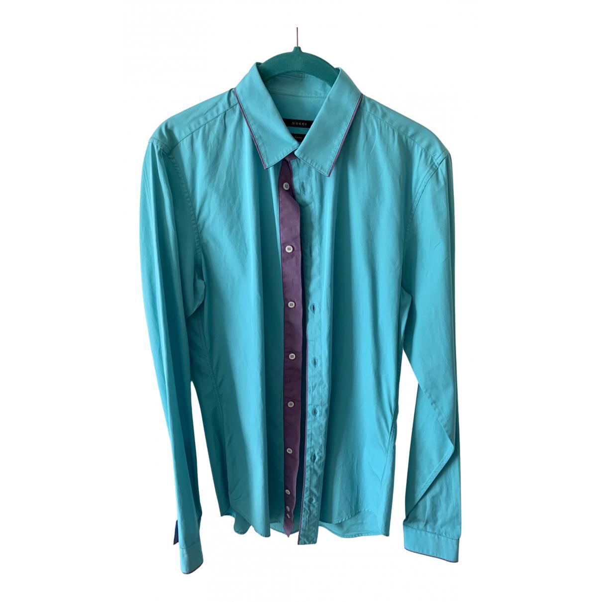 Gucci - Chemises   pour homme en coton - turquoise