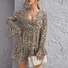 Vestidos Volante Leopardo Elegante