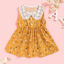 Baby Girl Ditsy Floral Contrast Collar A-line Dress