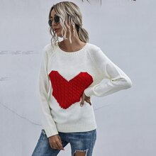 Strick Pullover mit Herzen Muster