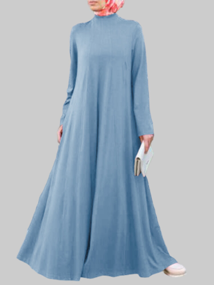 Casual Solid Color A-line Long Sleeve Plus Size Dress