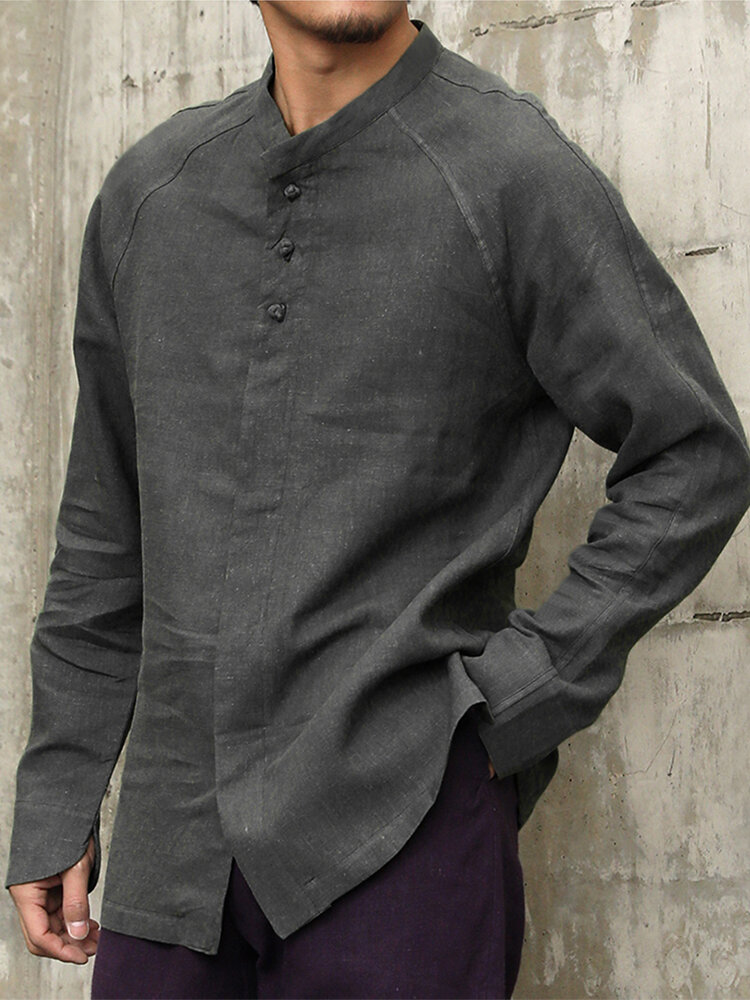 Mens Ethnic Cotton Flax Long Sleeve Loose Casual Shirts