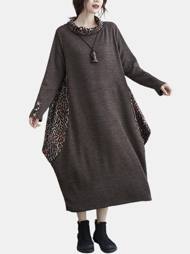 Leopard Print Patchwork Plus Size Casual Dress For Women
