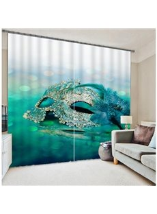 3D Mask Printed Two Panels Decorative and Blackout Bedroom Creative and Modern Polyester Curtain