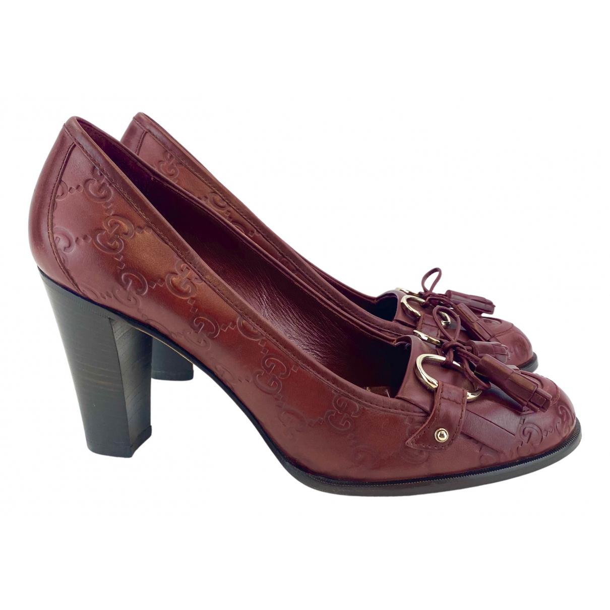 Gucci N Burgundy Leather Heels for Women 40 EU