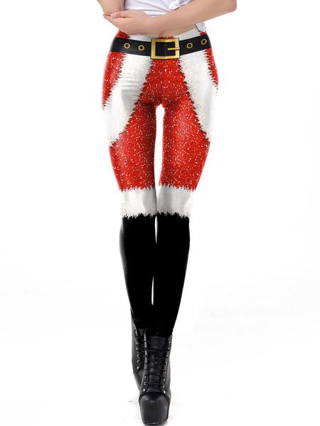 Milanoo Women Christmas Costumes Santa Claus Red Skinny Leg Pant