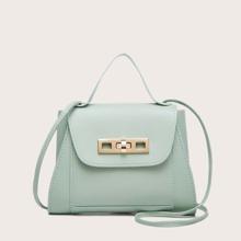 Twist Lock Flap Satchel Bag