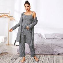 Grauer Cami Pajama Set & Guertel Robe
