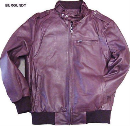 Mens Leather Soft Lambskin Burgundy  tanners avenue jacket