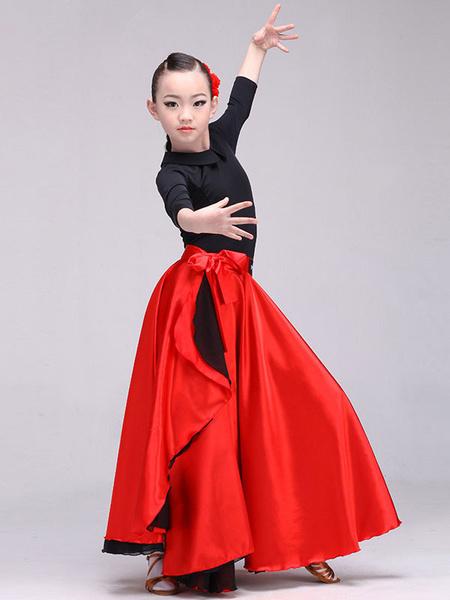 Milanoo Disfraz Halloween Paso Doble falda de baile anudada falda larga roja para mujeres y niños Halloween