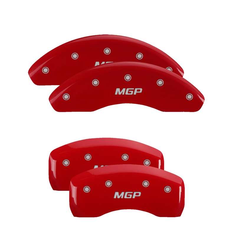 MGP Caliper Covers 10224SMGPRD Set of 4: Red finish, Silver MGP / MGP Ford Mustang 1997-1998