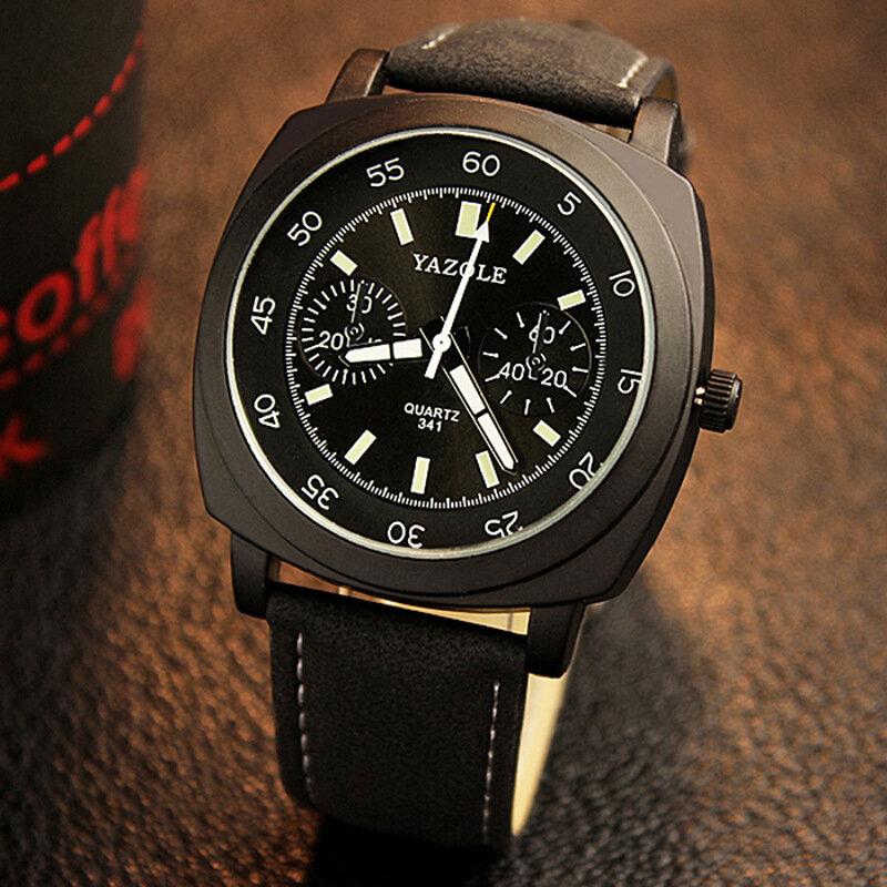 Fashion Square Men Watch Adjustable Waterproof Luminous Hands Quartz Watch
