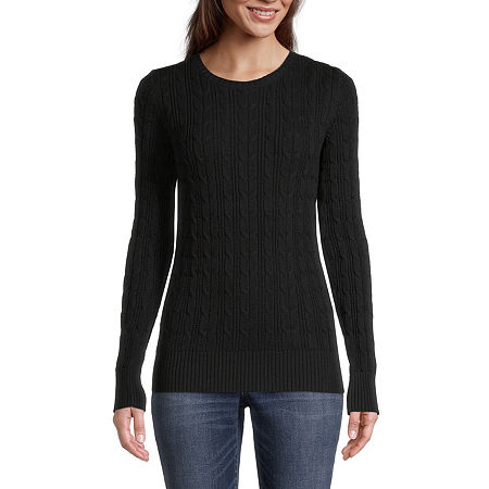 St. John's Bay Cable Womens Crew Neck Long Sleeve Pullover Sweater, Petite X-small , Black