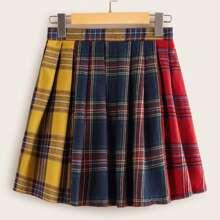 Tartan Color-block Pleated Skirt