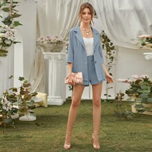 Single-breasted Lapel Neck Solid Blazer & Belted Shorts