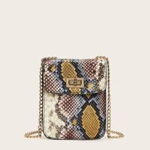 Bolsa mini con cadena con estampado de piel de serpiente con cerradura girante