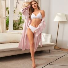 Lace Cuff Belted Satin Night Robe