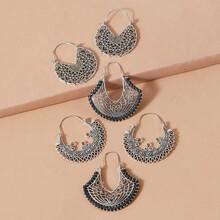 3pairs Tribal Hollow Out Hoop Earrings