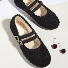 Toddler Girls Buckle Decor Fluffy Flats