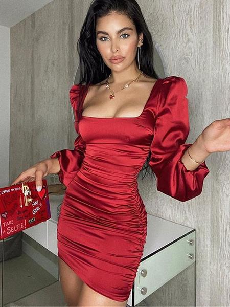 Milanoo Women\'s Bodycon Dresses Light Sky Blue Jewel Neck Pleated Sexy Long Sleeves Pencil Dress