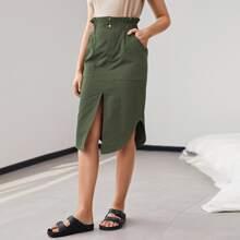 Falda bajo con abertura de cintura con volante