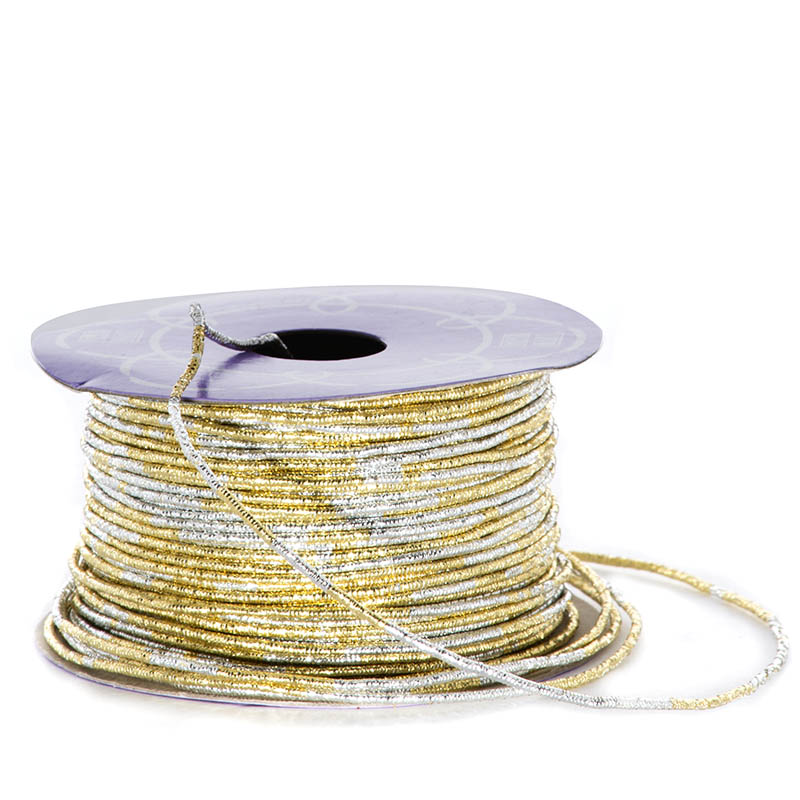 Metal Sparkle 1.5mm X 50 Yards Gold/Silver Variegated Metallic Cord by Ribbons.com