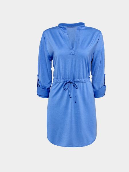 Yoins Plain Color Plunge Tie Waist Shirt Dress