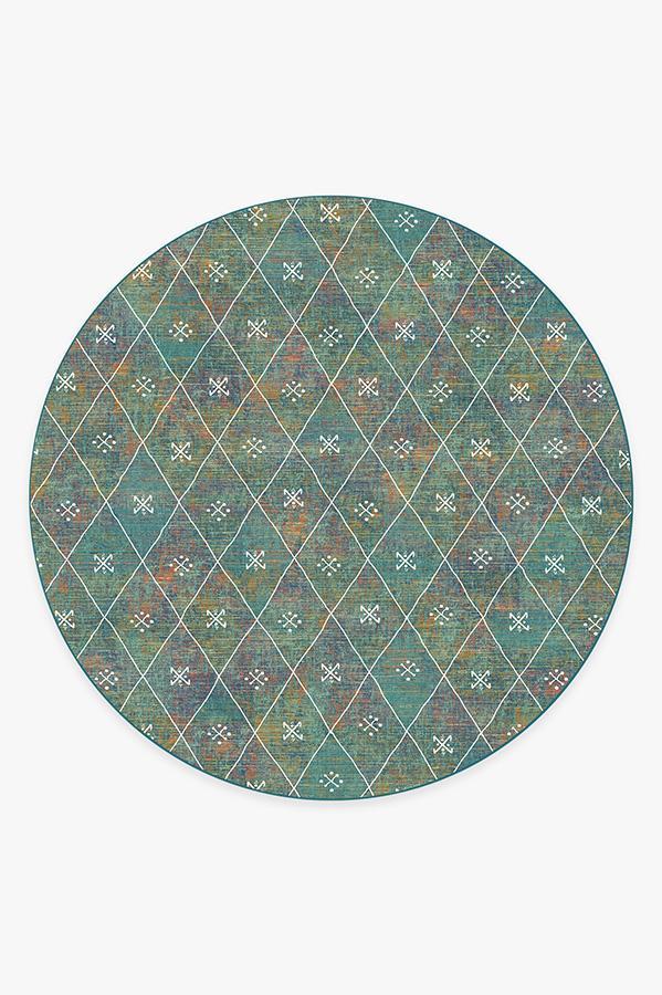Washable Rug Cover & Pad | Kavi Diamond Polychrome Rug | Stain-Resistant | Ruggable | 8' Round