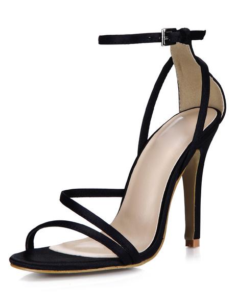 Milanoo Negro Sexy Saten y sandalias de novia para mujeres