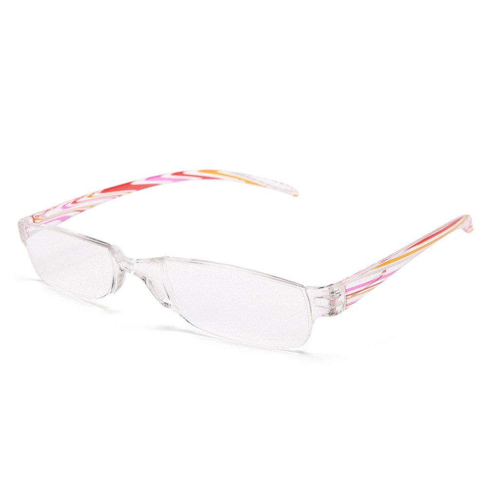 Women Non-frame PC Transparent Stripe Pattern Light Comfortable Fashion Reading Glasses