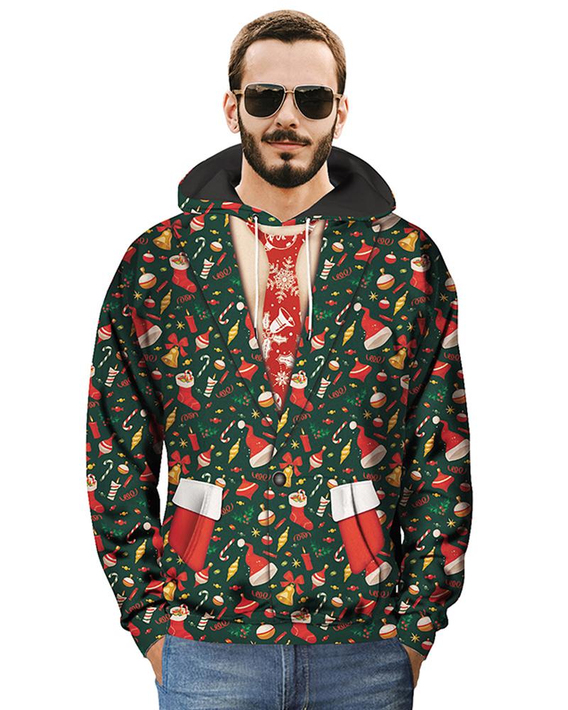 Christmas Kangaroo Pocket Lightweight Pullover 3D Painted Hoodie