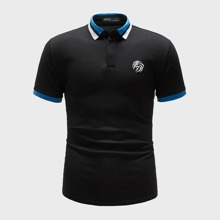 Men Embroidery Detail Contrast Collar Polo Shirt