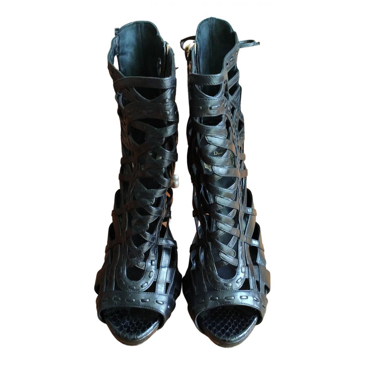 Dior N Black Python Sandals for Women 38 EU